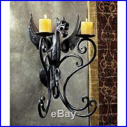 Cast Iron Ancient Gothic Antique Replica Dragon Pillar Candle Holder Wall Sconce