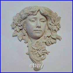 Chalkware Angle Art Nouveau Candle Stick Holder Wall Art Angelic Angel Face