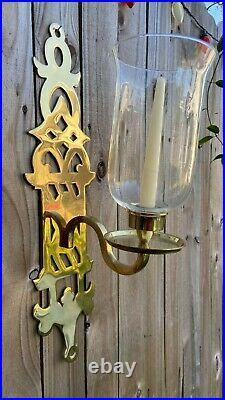 Chinese Chippendale Brass Pagoda Hollywood Regency Wall Candle Holder Sconces