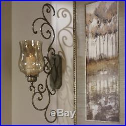 Classic Iron Scroll Wall Candle Holder Sconce Metal Swirl Bronze Iron Hurricane