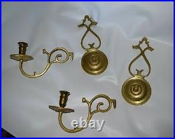 Colonial Williamsburg Restoration Virginia Metal Crafters Brass Pair Candle Wall