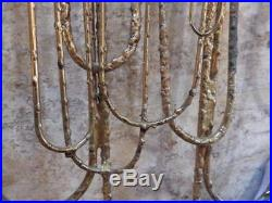 Curtis C Jere Metal Wall Sculpture Brutalist Dimensional Candle Holders MCM