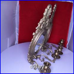 D25 Pair of 2 Vintage Solid Brass Wall Sconce Double Candle Holder Oval Mirrors