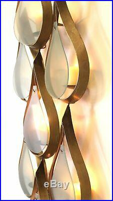 Danish Modern Mid Century Tear Drop Wall Art Glass and Gold Metal Pillar Candle
