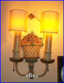 Delicious Pair Antique French Flower Basket Wall Sconses Sconse Candle Holder Nr