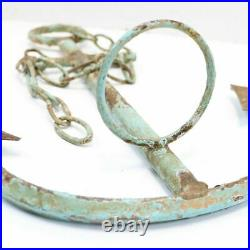 Distressed Metal Anchor & Chain Wall Art, Candle Holder, Nautical Robin Egg Blue