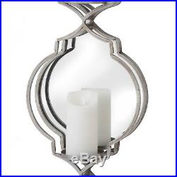 Elegant Quatrefoil Silver Wall Mounting Mirror 3 Vertical Candle Holder Sconce