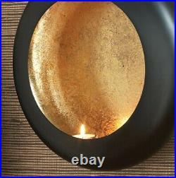Elegant Round Tea Light Wall Candle Sconce 12 in Disc Set 3 Black Gold Holder