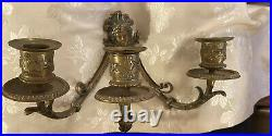 Estate French Brass Ornate 3 Arm Wall Sconce Candle Holder Rocco Style Beautiful
