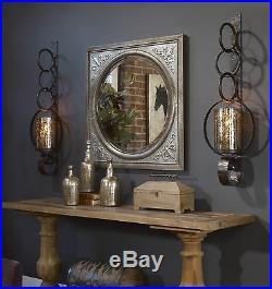 Falconara Uttermost XL 39 Rustic Metal Mercury Glass Wall Sconce Candle Holder