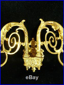 Fantastic Signed L Pinet Victorian Brass Wall Sconce Candle Holders Circa 1880