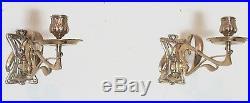 Fine Pair of ART NOUVEAU Brass Candle Wall Sccones c. 1900 antique holders