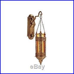 Fleur De Lis Filigree Metal Scrollwork Amber Glass Hanging Pillar Wall Lantern