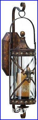 Flur-De-Lis Candle Wall Sconce Lantern Holder Bronze Iron Glass Home Decor