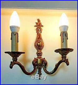 French Pair Double Wall Lights Vintage Candle Holders Brass Patina Chateau Style