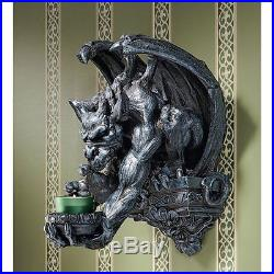 Gargoyle Gargouille Statue Wall Candle Holder Medieval Gothic Halloween Decor
