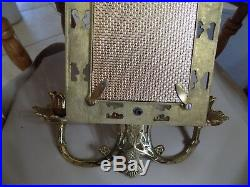 Glo-mar Brass Wall Beveled Mirror Candle Holder Pair Sconce H. W. Regency (11)