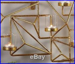 Gold Wall Sconce Modern Candle Holder Geometric Vintage Tea Light Votive Candles