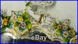 Gorgeous Antique Sitzendorf Dresden Porcelain 3 Arm Candle Holder Wall Mirror