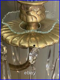 Gorgeous Set/2 Wall Candelabra Candle Holders Crystal Prisms Bevel Mirror GloMar