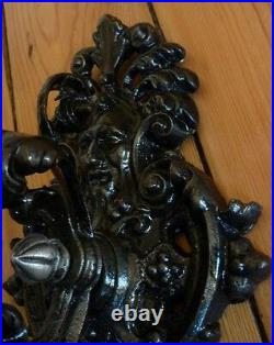 Gothic Gypsy Cast Iron Wall Candle Holder Greenman Warrior & Horse sconce