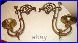 HUGE pair of antique ornate gilt bronze wall mount candle holder sconce arms