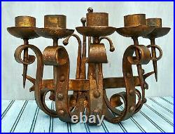 Hand Forged Gothic Candle Wall Sconce Wrought Iron with Spikes and Scrolling