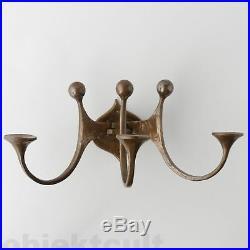 Harjes Metallkunst 3-flam. Bronze Wandleuchter Kerzenhalter Wall Candle Holder