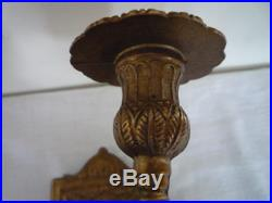 Heavy Cast Pair Of Brass Cherub Wall Sconces Candle Stick Holder Torchere Sconce