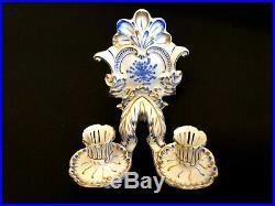 Herend Porcelain Handpainted Waldstein Blue Wall Candle Holder 7878/wb