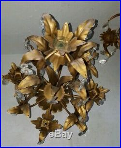 Hollywood Regency Golden Age Italian Tole w Prisms Wall Sconces Candelabra Group