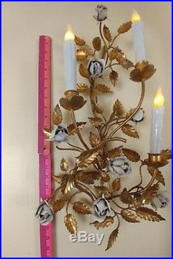 Hollywood Regency MCM Italian Gold Gilt Rose Tole Scone Wall Candle Holder