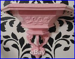 Homco 4 Piece Pink Wall Decor Set Mirror, Shelf & 2 Candle Holders