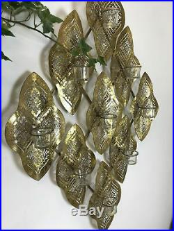 Huge Metal Gold Wave Moroccan Wall T-Lights Holder Candles Display Wall Art