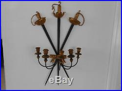 Huge Vintage Italian Florentine Sword Gilt Tole and Metal Wall Sconce Candle