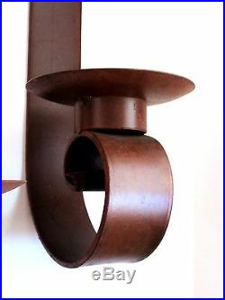 IRON WALL SCONCES Rustic Candle Holders, Mexican Folk Art Set XLG 23 26H