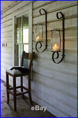 Iron Metal Wall Sconce with Hand Blown Glass Hurricane Pillar Candle Holder 32