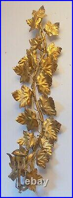 Italy TOLE Metal SCONCE Wall Candle Holder Gold Gilt Leaves Hollywood Regency