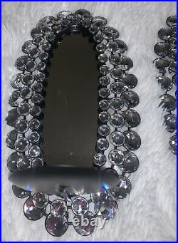Jewel Wall Candle Holder Mirror Black Silver Set Elegant NWT unique