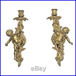 LA2/173 Pair french Empire Style Angel Cherub Candle Stick Wall Holder France