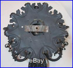LARGE antique ornate solid hand wrought iron candle holder wall sconce fixture