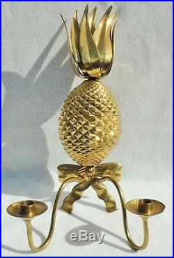 Large 21 Vintage Ethan Allen Brass Figural PINEAPPLE Candle Holder Wall Sconce