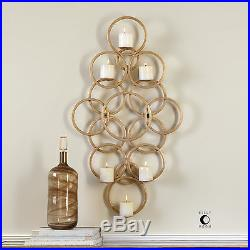 Large 43 Forged Rich Gold Leaf Metal Wall Art Sconce Six Candle Holder