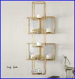 Large 47 Gold Leaf Metal Cubes Accented Aged Mirror Wall Sconce Candle Holder