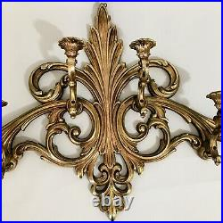 Large 6 Arm Gold Syroco Wall Mounted Candle Holder Hollywood Regency Midcentury