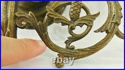 Large Antique/Vtg 20 Ornate Solid Brass 7 Light Wall Sconce Candle Stick Holder