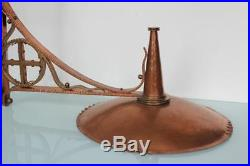 Large Arts & Crafts Gothic hammered brass copper church wall candle holder