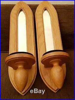 Large Pair Of Oak Wood Wall Sconce Pillar Candle Holders With Mirrors