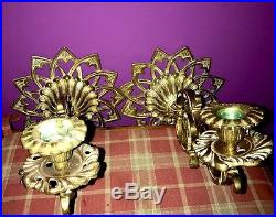 Large Pair Wall Sconces Huge RARE ANTIQUE FRENCH BRONZE / BRASS Candle Holder