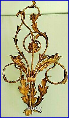 Large Vintage Gold Metal Toleware Sconce Art Wall Candle Holder Wall Hanging 20